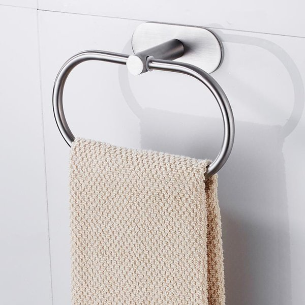 best selling Bathroom Towel Holder Stainless Steel Towel Ring Holder Hanger Wall-Mounted Round Rings Home Hotel Bathroom Accessory