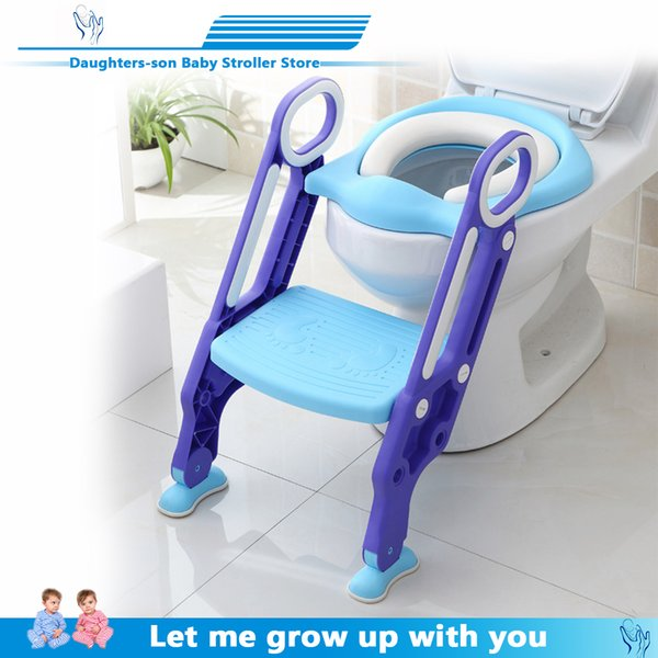 top popular New Baby Potty Training Seat Children's Potty Baby Toilet Seat With Adjustable Ladder Infant Toilet Training Folding Seat LJ201110 2021