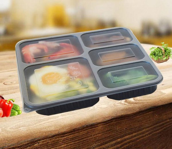 top popular Lunch 5-compartment Disposable1000ml 1500ML Plastic Food Storage Holoder 2 colors Take Out Box Tableware 200 s 2021
