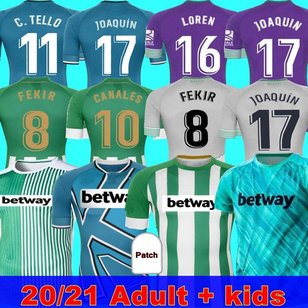 top popular MAN + KIDS 20 21 REAL Betis Football Jersey JOAQUIN Loren BOUDEBOUZ BARTRA home away 3rd 4TH Training suit Commemorative Edition Fekir 8 2021