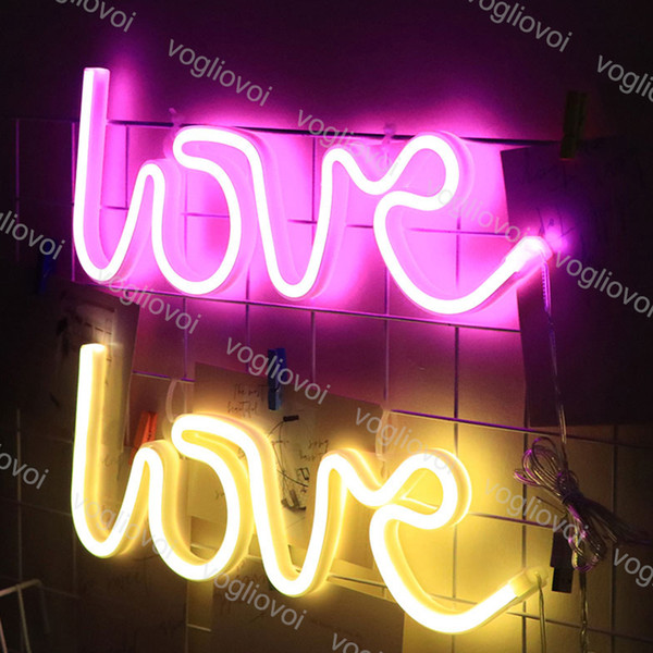 best selling Led Neon Sign Light SMD2835 Indoor Night light Love Pink Blue Green Red Model Holiday Xmas Party Wedding Decorations Table Lamps