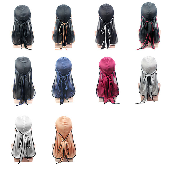 best selling 2021 new fashion silk color long tail elastic bandage cap headband pirate cap chemo cap 17 colors