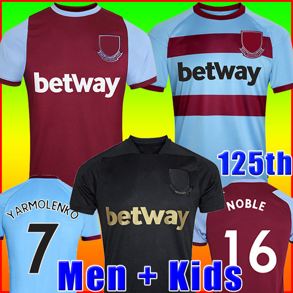 best selling 20 21 WEST soccer jersey 2020 2021 LINGARD NOBLE HAM ANDERSON UNITED RICE NOBLE football shirt men + kids kit 125 years 125th Anniversary