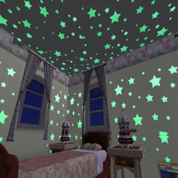 top popular 300 3D stars glow in the dark wall stickers children's glow fluorescent stickers baby room bedroom ceiling home decoration Christmas 2021