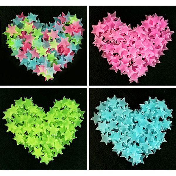 best selling 3cm 100pcs set Xmas Luminous Stars Wall Sticker Baby Kids Room Ceiling Decorations Fluorescent Star DIY Wall Stickers LA295