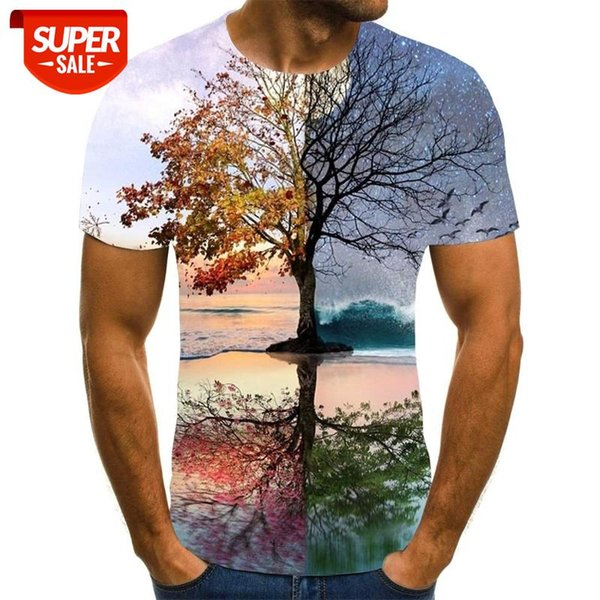 best selling 2020 New Men 3D T-shirt Casual Short Sleeve O-Neck Fashion Nature Printed t shirt Men Tees #EM5a