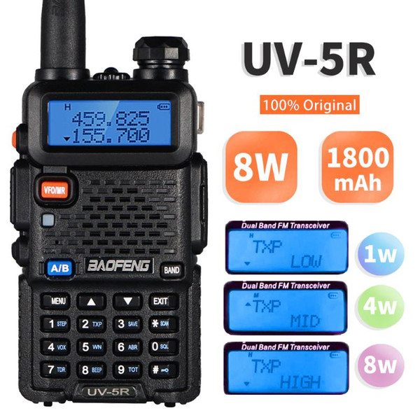 best selling Real 8W Baofeng UV-5R Walkie Talkie UV5R Dual Band Amateur Ham Radio UV 5R Powerful Portable Two Way Radio VHF UHF Transceiver