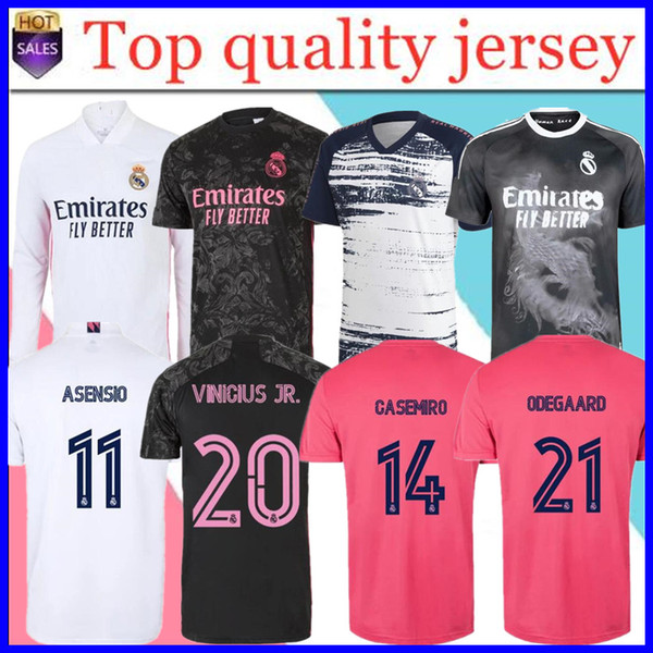 top popular REAL MADRID soccer jersey 20 21 HAZARD SERGIO RAMOS BENZEMA VINICIUS camiseta football shirt uniforms men + kids kit sets 202 2020