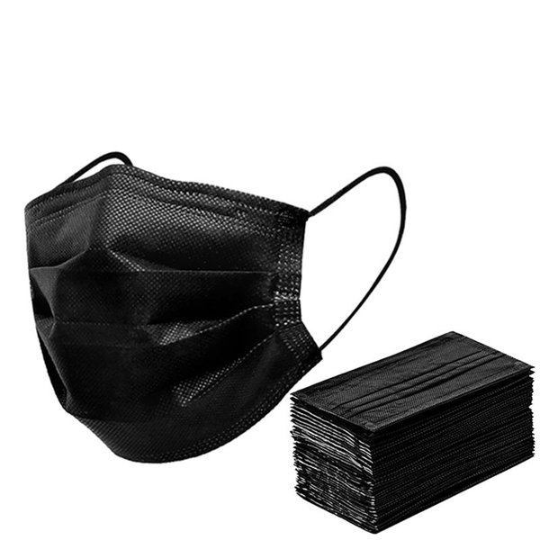 top popular Black Face Mask Disposable Nonwoven 3 Layer Filter Mask Mouth Face Mask Anti Dust Protective Breathable Earloops Masks Fast Ship 2021