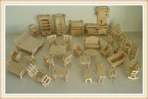 best selling Wholesale DIY 1:16 Mini Furniture Kids Educational Dollhouse Furniture Set,3D Woodcraft Puzzle Model,Brinquedos 3WJO#