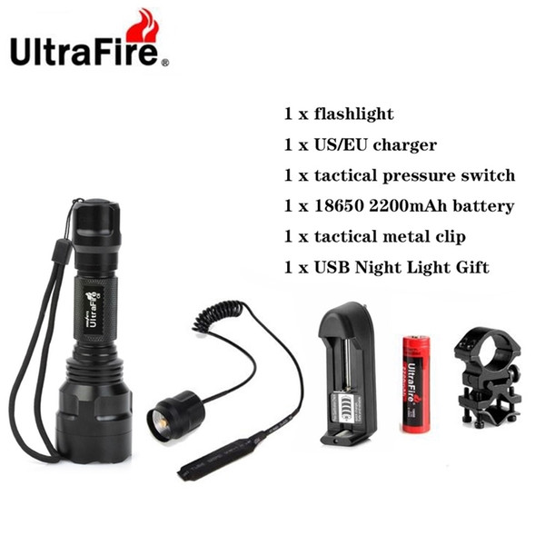 best selling Ultrafire C8 LED Flashlight XML-T6 5 Mode Remote Tactical Flashlight Camping Lantern Flash 18650 Torch Rechargeable Battery 201210