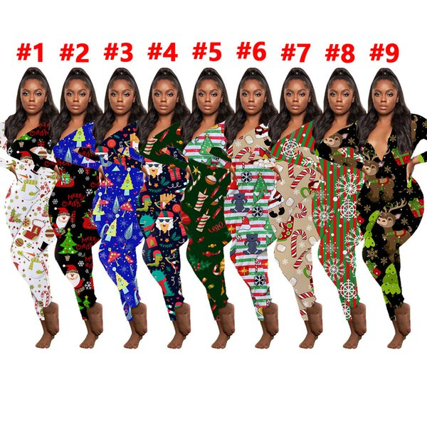 best selling Women Jumpsuit Slim Sexy Halloween Fashion Home Wear Christmas Printed V-neck Long Sleeve Pants Ladies New Tight Rompers 2020