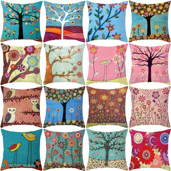 top popular Pillow Art Painting Creative Case Children's Oil Painting Tree Cartoon Style Household Goods Sofa Cushion Waist Pillow Case 2021