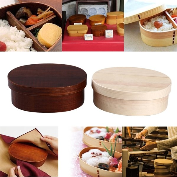 top popular Japanese Style Bento Boxes 3Grids Wood Lunch Box Portable Picnic Kids Students Food Container Kitchen Accessories 201210 2021