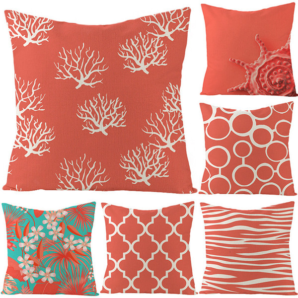 top popular Simple Coralline Linen Pillow Cover Modern with Nordic Color Matching Car Pillow Cushion Cover 2021