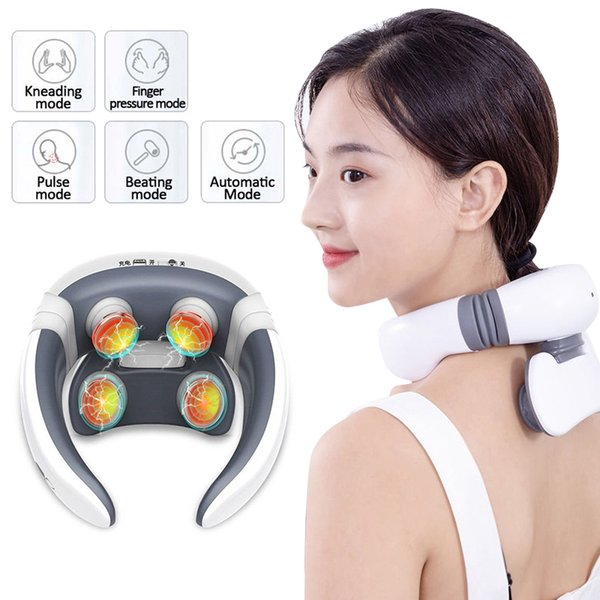 top popular Smart 4D Electric Neck Massager Magnetic Pulse Heated Far Infrared Heating Pain Relief Cervical Massage with Remote Control New 2021