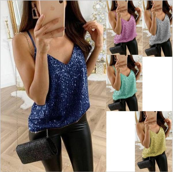 top popular Sexy New Womens Sleeveless Wash Gold Camisole Vest Camis Silk Tanks Ladies Silk Gallus Leisure Lace Club Underwear Lager Size S-5XL 2021