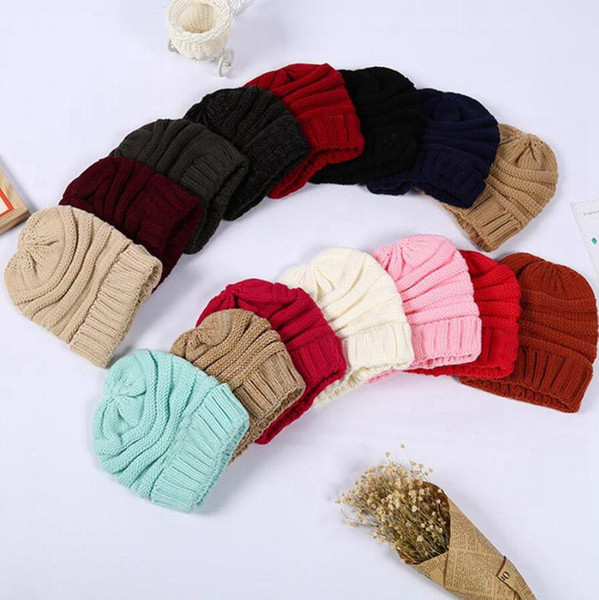 top popular Knitted Women Simple Soft Stretch Beanies Hat Trendy Winter Warm Hat 20 Styles Solid Wool Beanie Casual Caps Party Hats DDA696 2021