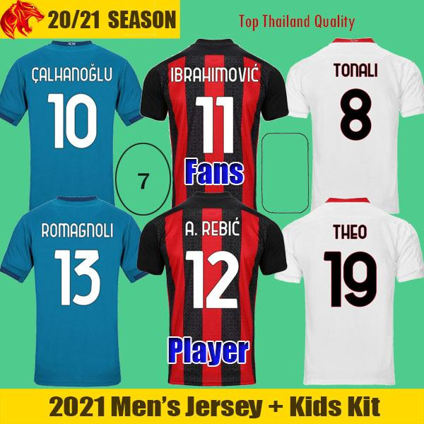 best selling 20 21 AC Milan Soccer Jerseys IBRAHIMOVIC 2021 REBIC THEO TONALI Football Shirt ROMAGNOLI Fans Player Version CALHANOGLU Men's Kids Kit