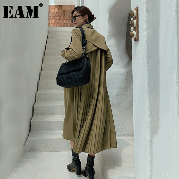 eam] women back pleated big size trench new lapel long sleeve loose fit windbreaker fashion tide spring autumn 2020 1dc048 1031, Tan;black