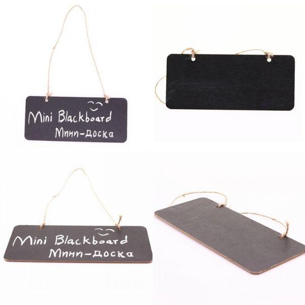 top popular Hanging Wooden Mini Blackboard Double Sided Erasable Chalkboard Wordpad Message Sign Black Board Cafe Office School Supplies DBC 16 K2 2021