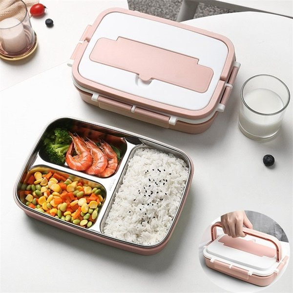 top popular Handle Thermal Food Container With Compartments Portable Stainless Steel Bento Lunch Box for Kids Adults Lunchbox with Tableware 201210 2021