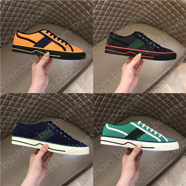 top popular Tennis 1977 Print Sneaker Green and red Web stripe shoe Luxurys Low-Top Lace Up Classic Cellulose Grid sneakers Designers Casual Shoes 2021