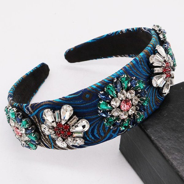 best selling Vintage Baroque Blue Headband Rhinestone Crystal Flower Queen Crown Tiara Wide Hairband Hair Accessories Wedding Hair Jewelry1