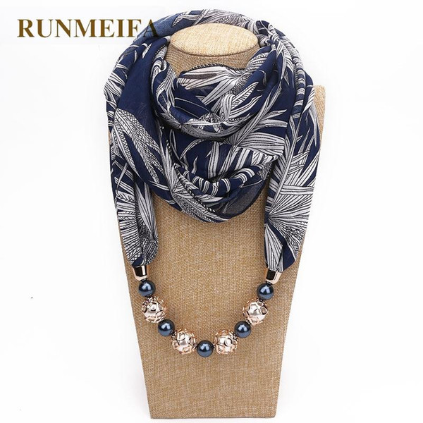 top popular RUNMEIFA 2020 New Fashion Women Solid Jewelry Pendant Chiffon Scarf Pearl Shawls and Wraps Soft Female Accessories 63 Colors 2021