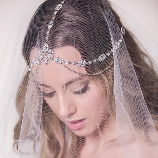 top popular Stonefans Bridal Headband Rhinestone Wedding Hair Chain Headpiece Accessories for Women Crystal Boho Forehead Head Chain Jewelry F1229 2021
