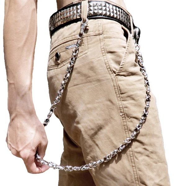 skull biker jean key wallet chains black rock punk hip- metal keychain pants belt chain fashion men accessories jewelry dr45, Silver