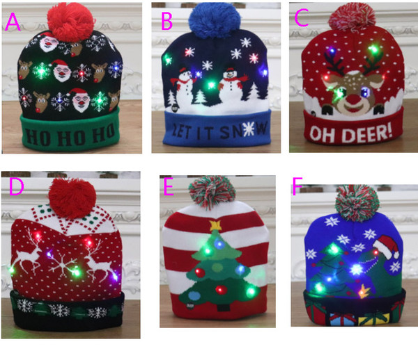 top popular New Led Christmas Knitted Hat Xmas Light-up Beanies Hats Outdoor Light Pompon Ball Ski Cap For Santa Snowman Reindeer Xmas Tree HH9-2463 2021