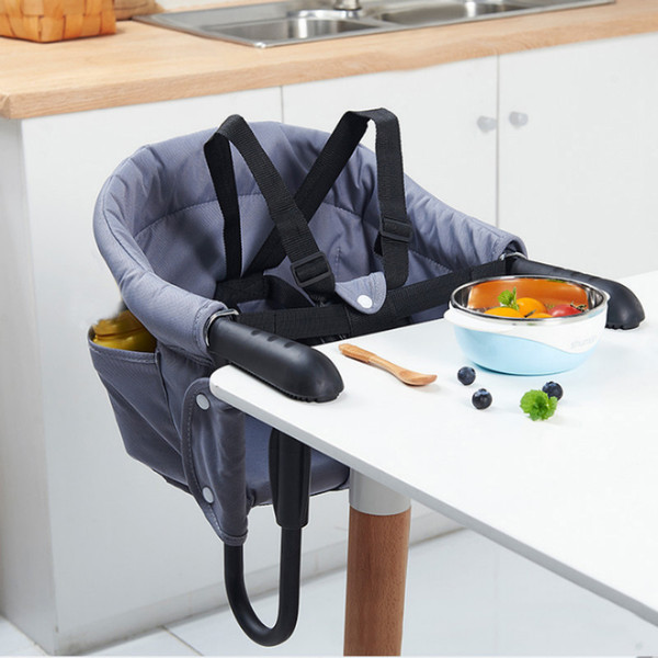 top popular Portable Baby High chair For Dining Foldable Gray Baby Hook On Seat Safety Belt Feeding Chair Seat Booster Home Travel Baby Seat LJ201110 2021