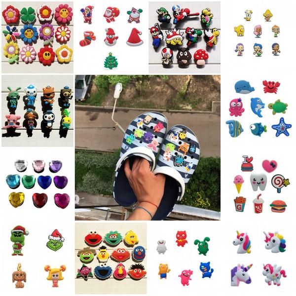 best selling Free DHL 1000PCS cute cartoon PVC Shoe Charms Shoe Buckles Action Figure Fit Bracelets Croc JIBZ Shoe accessories
