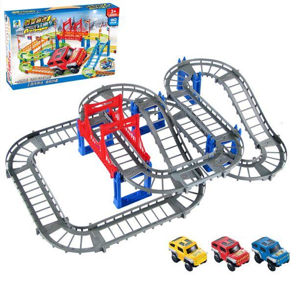 best selling 85pcs DIY car block Christmas Train Set Railway Tracks Toys Xmas Gift Electric Railway Set Locomotive Engine Cars