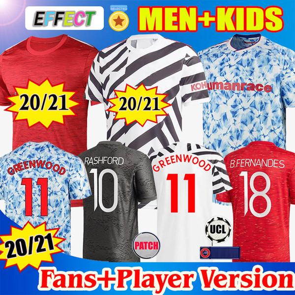 top popular Manchester 2020 2021 united UTD VAN DE BEEK GREENWOOD B.FERNANDES Fouth Soccer Football Jerseys Shirt 20 21 man + kids kit Player Version 2020