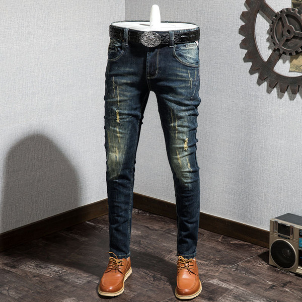 best selling 2021 latest retro men's perforated jeans Korean Slim small straight elastic make old fashion brand youth Leggings