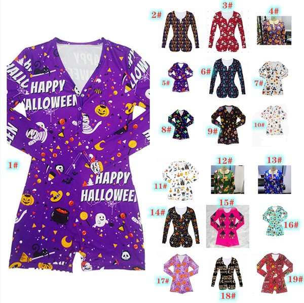 best selling 2020 New Women Jumpsuits New Halloween Printed Casual Fashion Long Sleeve Rompers V Neck Short Onesies Women Plus Size Bodycon 3619