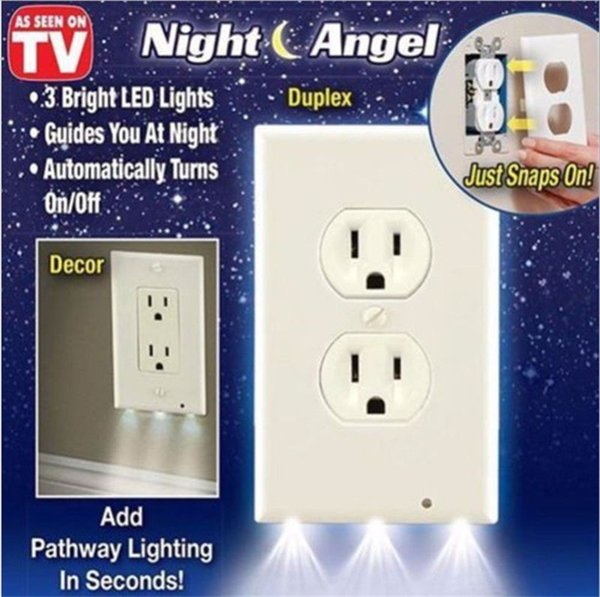 top popular Guide Light for Outlets LED Light Bar Night Light Electrical Outlet Wall Plate With LED Night Lights Automatic On Off 2021