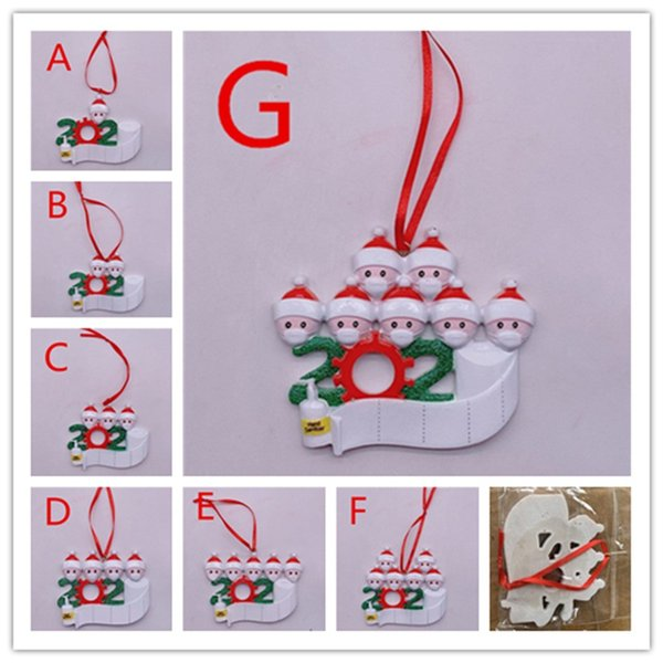 top popular Fedex 2020 Quarantine Christmas Ornaments Survived Family of 1-7 Christmas Decorations DIY Name Hard Resin Pandemic Social Distancing Decor 2020
