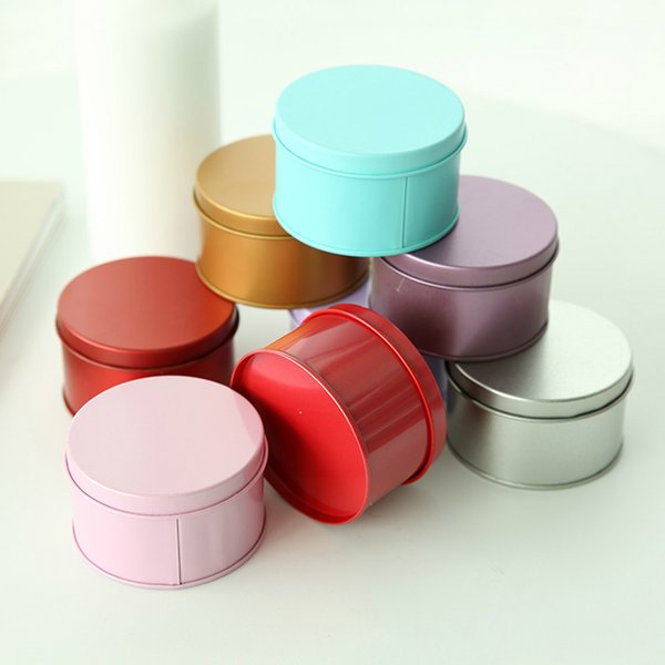 top popular Candy Box Tinplate Candle Jar Empty Metal Tin Can Tablet Pill Earrings Storage Box with Lid Round Container Small Home Decor 2021