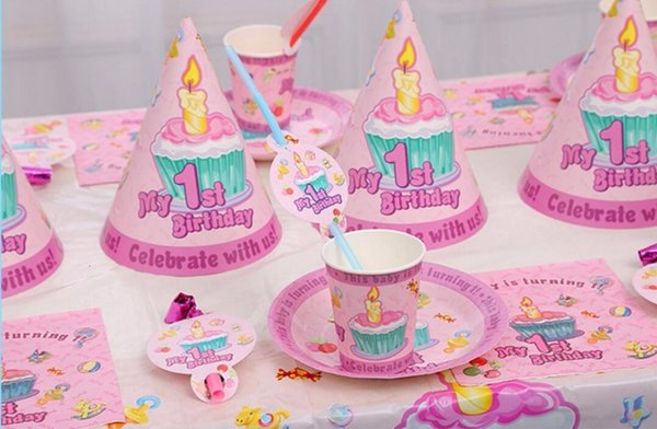 best selling 1st 51pcs set First birthday decoration boys girls plate cup straw napkins tablecloth for 6kids party supplies