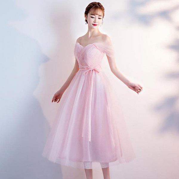 Embroidery flower tulle V-neck party Tea-length Chiffon medium long pink Cocktail Dresses Coktail Coctail Cocktail Dress Party
