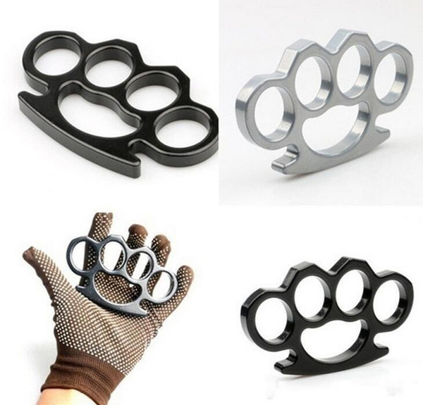 top popular 10PCS Silver and Black Thin Steel Brass knuckle dusters,Self Defense Personal Security Women's and Men's self-defense Pendant fy4223 2021