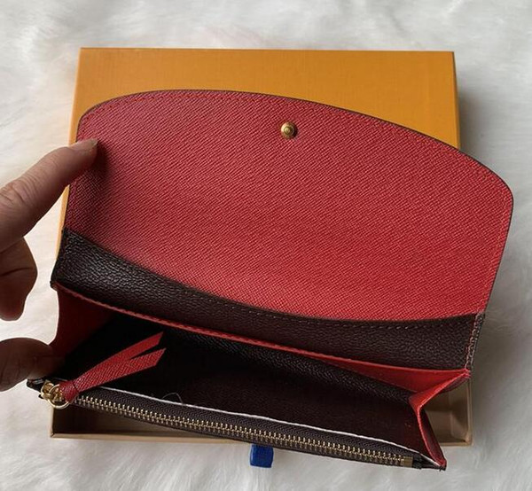 top popular 9 colors fashion single zipper pocke men women leather wallet lady ladies long purse with orange box card D60136 2020