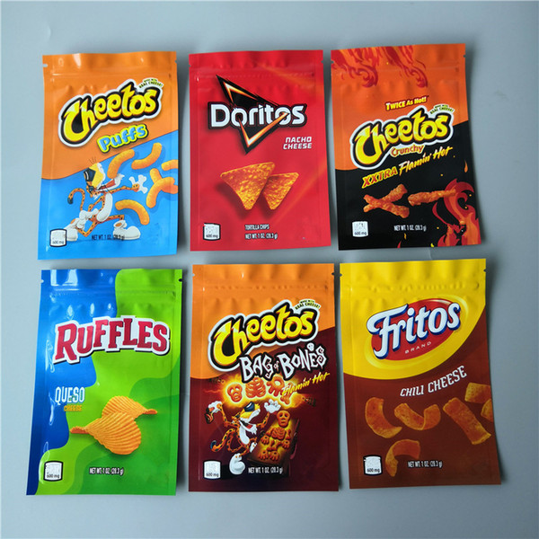 top popular New Arrival 600mg Cheetos Maylar bag DORITOS Cheese Gummi Worm Cheetos bag of BONE RUFFLES Errlli Packaging bags 2021