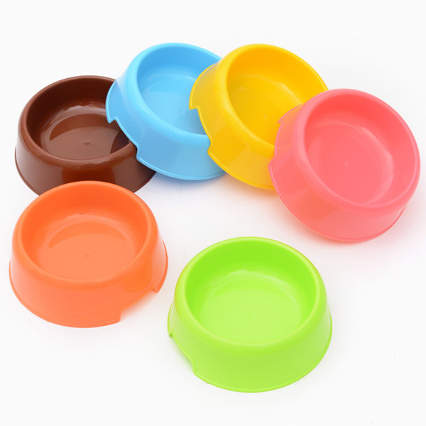 best selling Candy Color Plastic Dog Feeding Bowls Cat Puppy Food Dish Pet Drink Water Non Slip Eating Feeder