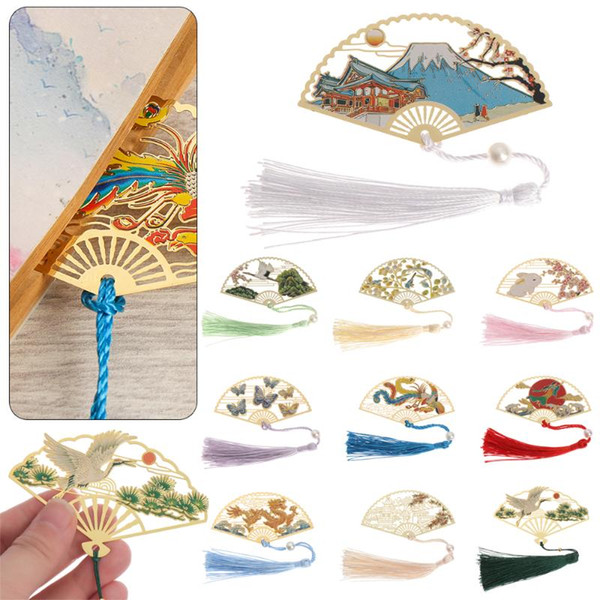 best selling 1PC Retro Chinese Folding Fan Design Brass Bookmark Tasseled Hollowed Book Clip Pagination Mark Stationery School Office Supply