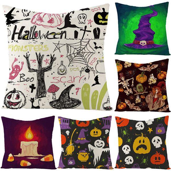 top popular Ghost Halloween Linen Pillow Cover Pumpkin Fire Halloween Home Decoration Supplies Cushion Waist Pillow Cover 2021