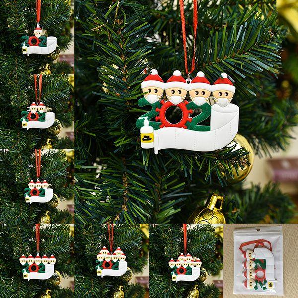 top popular Christmas Ornament DIY Greetings Quarantine Christmas ornaments 2020 Party Pandemic Social Distancing Christmas Tree Pendant Accessories 2021